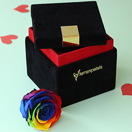 Mystic- Forever Rainbow Rose in Velvet Box: