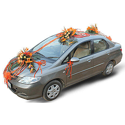 Orange Bloom Car Decor: Car Flower Decoration