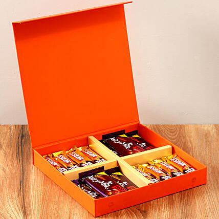 Orange Gift Box Of Chocolates: Send Gifts for Teachers Day
