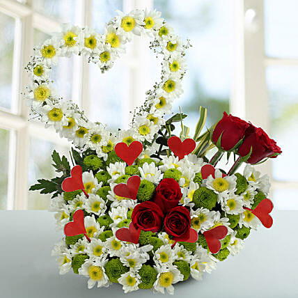 Peace White Daisy Arrangement: Heart Shaped Flowers Arrangement For Valentine's Day