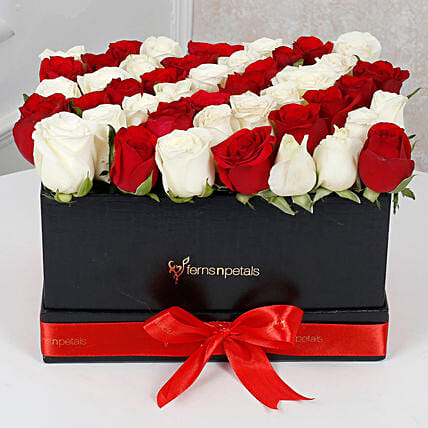 Peaceful Whites N Reds Arrangement: Flowers In box