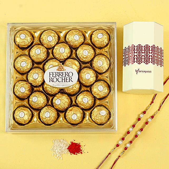 Pearl Rakhi Set & Ferrero Rocher Chocolates: Rakhi Bestsellers For Brother