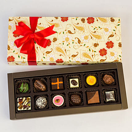 Permium Floral Box Of Chocolates- 12 Pcs: Gifts to India