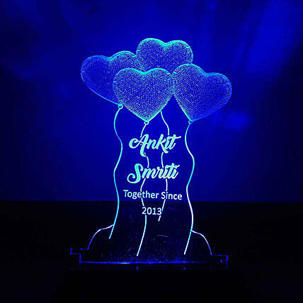 Personalised Blue LED Heart Balloons Lamp: