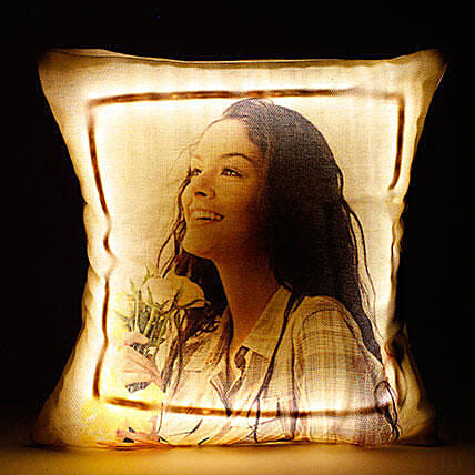 Personalised Cool Yellow LED Cushion: Gifts for Daughters Day