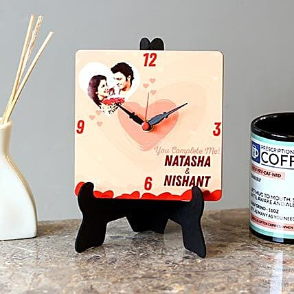 Personalised Couple Name MDF Table Clock: