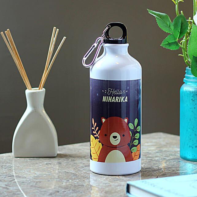 Personalised Cute Bear Steel Bottle: Send Personalised Message Bottles