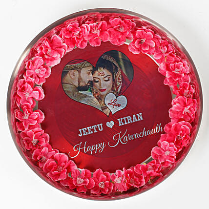Personalised Decorated Karwa Chauth Thali: Send Pooja Thali