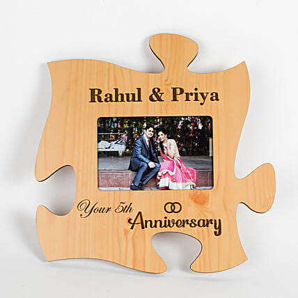 Personalised Engraved Anniversary Puzzle Frame: