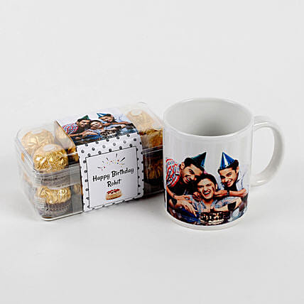 Personalised Mug & Ferrero Rocher Combo Birthday: Chocolate Gifts in India