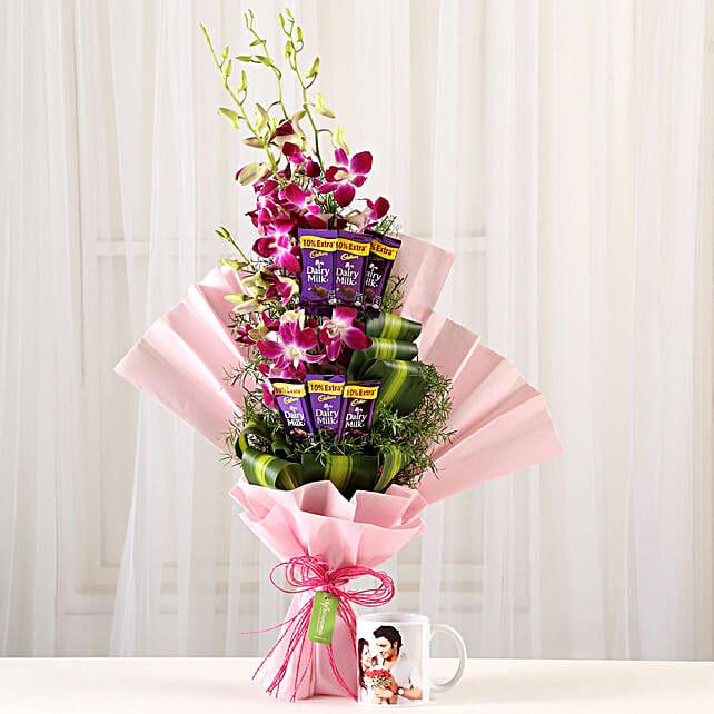 Personalised Mug & Purple Orchids Posy: Flowers N Personalised Gifts