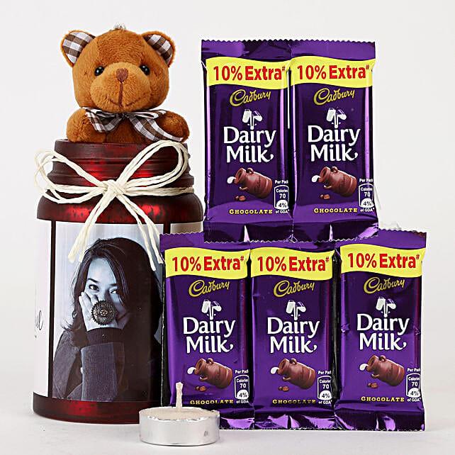 Personalised Red Jar & Chocolate Combo: Cadbury Chocolates