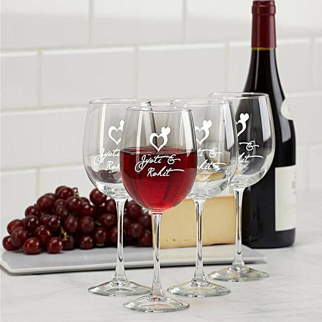 Personalised Set Of 2 Wine Glasses 1021: Personalised Glassware