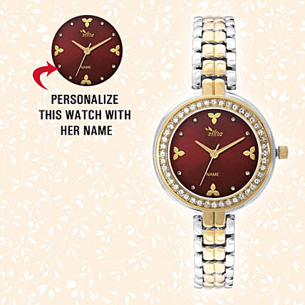 Personalised Silver & Golden Pretty Watch: