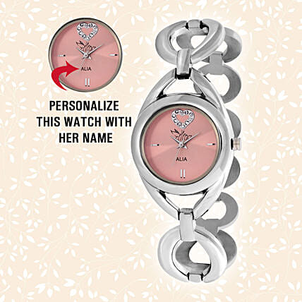 Personalised Steel Silver & Pink Watch: Personalised Watches
