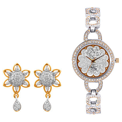 Personalised Watch With Elegant Earrings: Watches