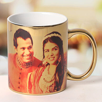 Personalized Ceramic Golden Mug: Send Gifts to Jhansi