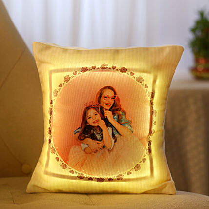 Personalized Cool Yellow LED Cushion: Faridabad gifts