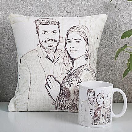 Personalized Couple Cushion N Mug Combo: Caricatures