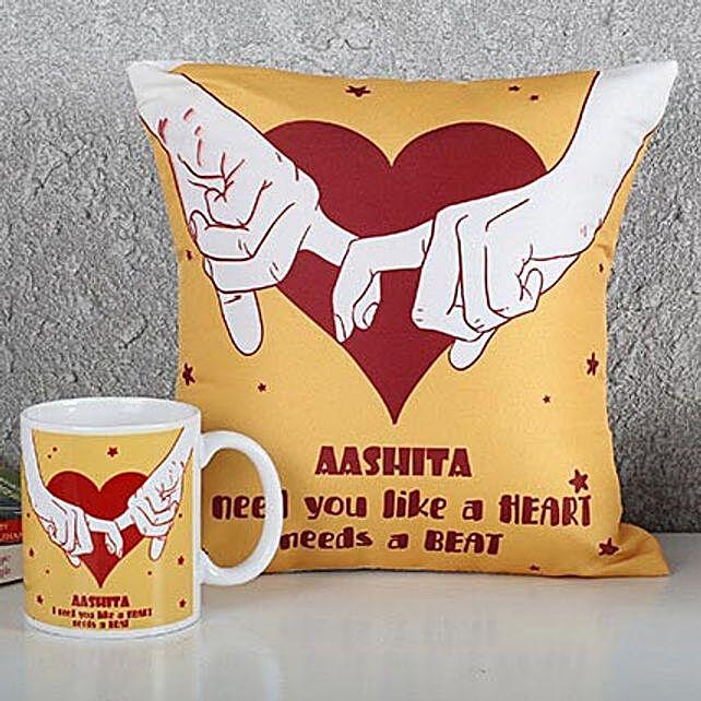 Personalized Heart Cushion N Mug Combo: Cushions and Mugs Combo