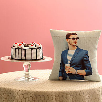 Picture Cushion & Black Forest Cake Combo: Gift Combos