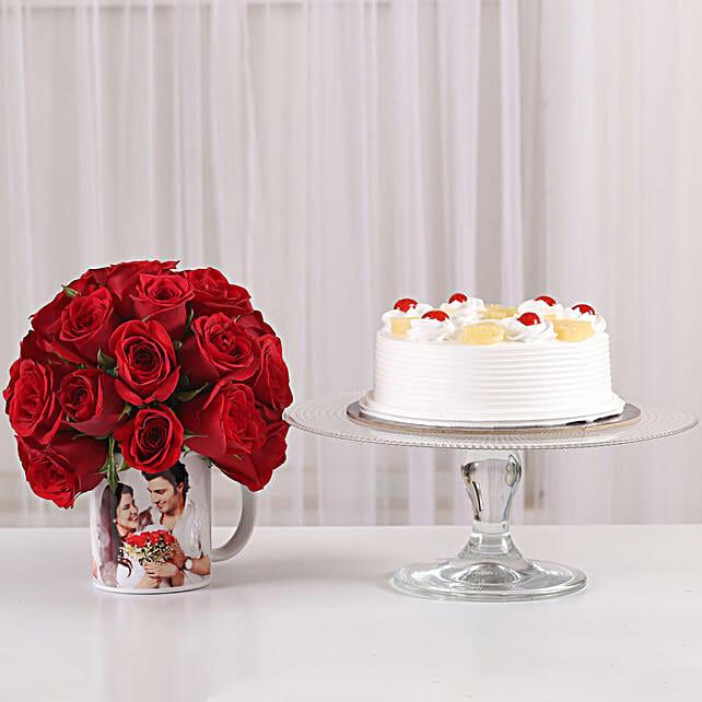 Pineapple Cake & 20 Red Roses Mug: