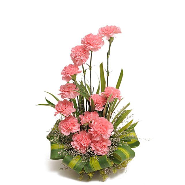 Pink Carnations Basket Arrangement Bengaluru Gifts