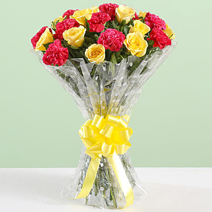 Pink Carnations & Yellow Roses Bouquet: Mixed Flowers