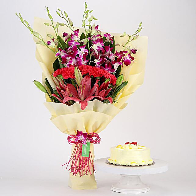 Pink & Purple Flowers & Butterscotch Cake Combo: Send Lilies