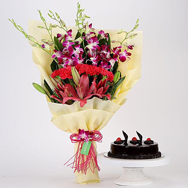 Pink & Purple Flowers & Truffle Cake Combo: Cakes Combo