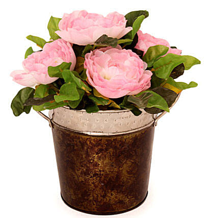 Pink Roses In A Metal Basket: Artificial Plants
