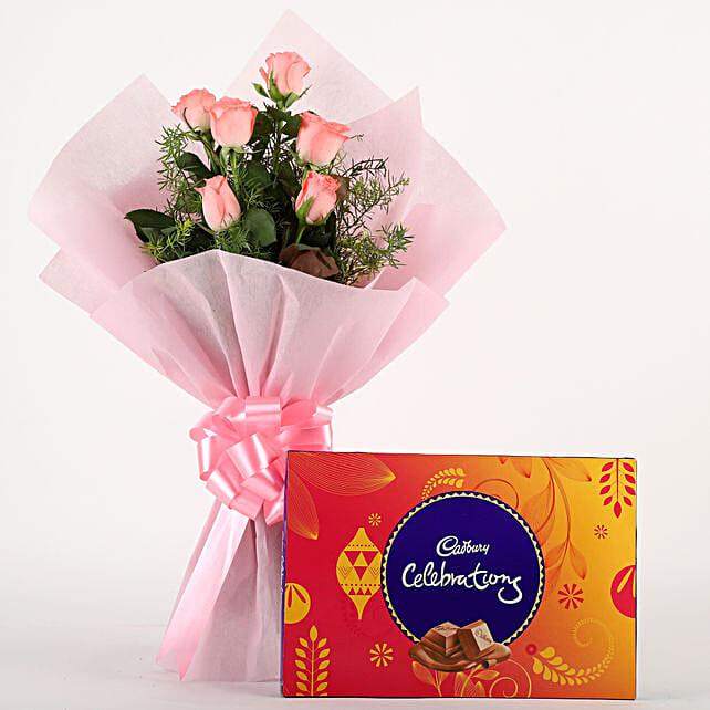 Pink Roses N Chocolates: