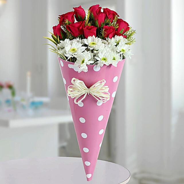 Pink Roses N White Daisies Bunch: Designer Bouquet