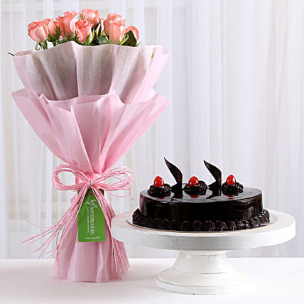 Pink Roses With Cake Birthday Gifts For Girlfriend