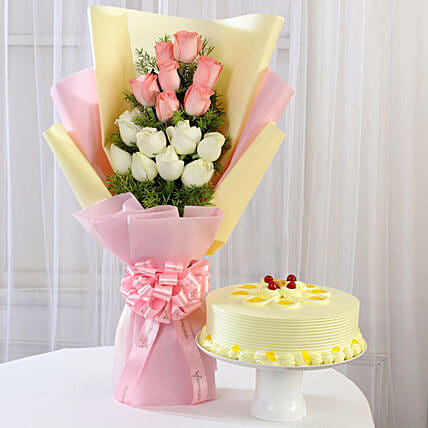 Pink & White Roses & Butterscotch Cake: Flower Bouquet with Cake