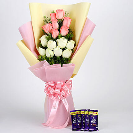 Pink & White Roses & Dairy Milk Combo: Combo Gifts