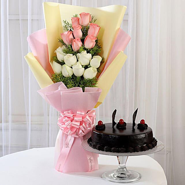 Pink & White Roses & Truffle Cake: Flowers & Cake Combos