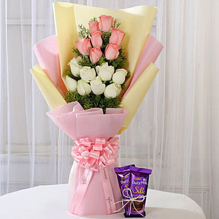 Pink & White Roses with Dairy Milk Silk: