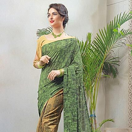 Printed Beige Faux Georgette Saree: Apparel Gifts