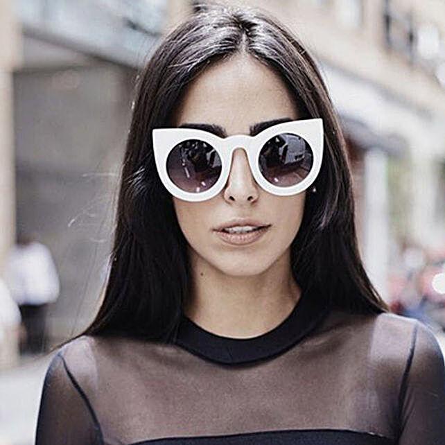 Prishie White Cat Eye Sunglasses For Female: Sunglasses