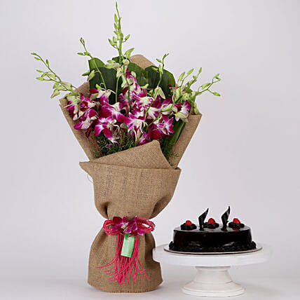 Purple Orchids Bunch & Truffle Cake Combo: Flower Bouquet with Cake