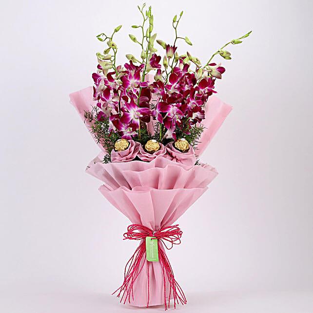 Purple Orchids & Ferrero Rocher Bouquet: Orchids