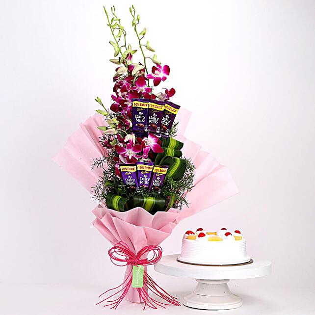 Purple Orchids Posy & Pineapple Cake: Cadbury Chocolates