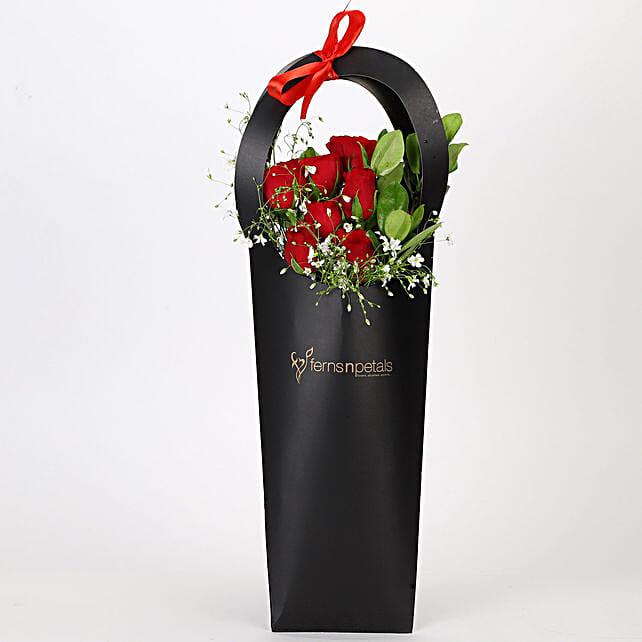 Ravishing Red Roses in Black Sleeve: Flower Bouquets