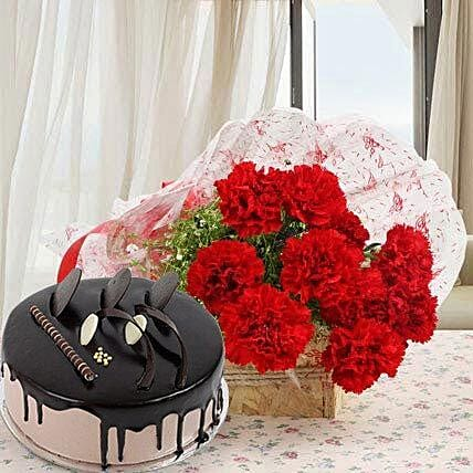 Red Carnations With Chocolate Cake: Flowers & Cake Combos