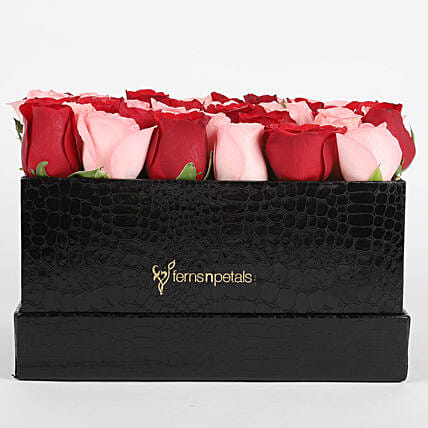 Red & Pink Roses Box Arrangement: Flowers In box