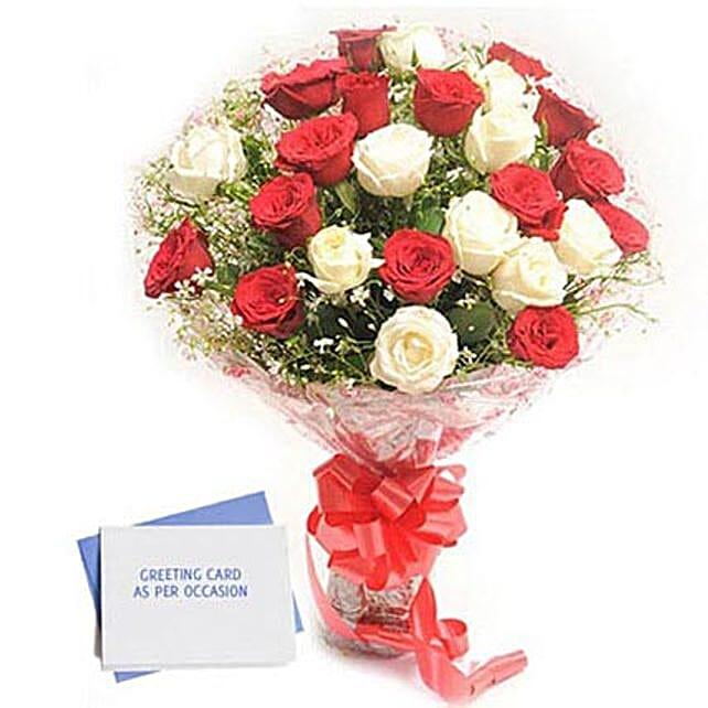 Red N White Roses: Buy Flowers Combo