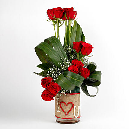 Red Roses Glass Vase Arrangement I Love You: Flowers for Wife