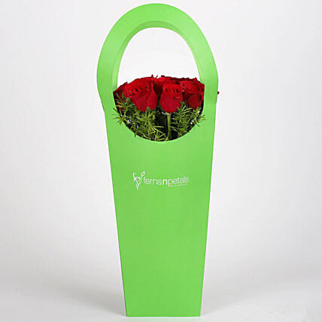 Red Roses in Green Sleeve Bag: Send Flowers In Sleeve