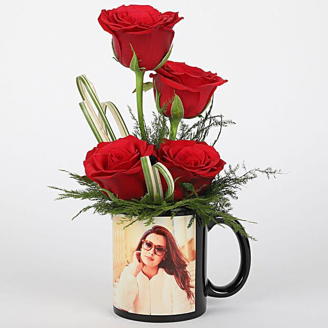Red Roses in Personalised Black Mug: Send Roses